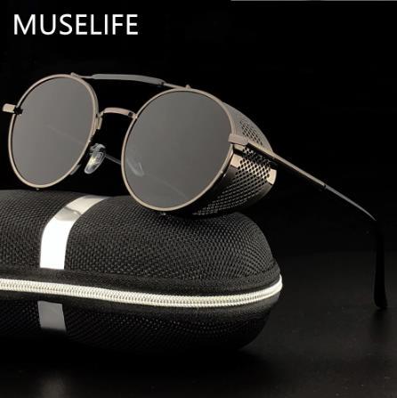 Солнцезащитные очки в стиле ретро MUSELIFE, круглые металлические очки в стиле стимпанк для мужчин и женщин, фирменные дизайнерские очки Oculos De Sol, защита от ультрафиолета