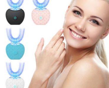 360 градусов Умная Автоматическая звуковая электрическая зубная щетка u-типа 4 режима зубная щетка USB зарядка отбеливание зубов синий светильник