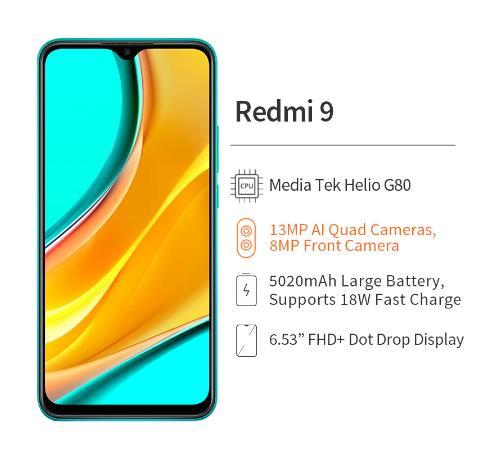 купить дешево глобальная версия Redmi 9 4 Гб 64 Гб Смартфон Helio G80 Redmi9 13MP AI Quad Camera 5020mAh Type-c 6,53