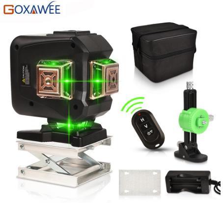купить на алиэкспресс GOXAWEE зеленый лазерный уровень 12 линий 3D самонивелирующийся 360 поперечный горизонтальный и вертикальный автоматический лазерный уровень мощный зеленый луч