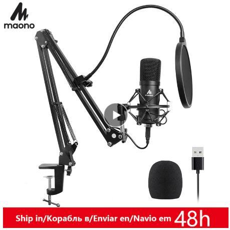 купить на алиэкспресс Комплект USB микрофона MAONO AU-A04, 192 КГц, 24 бит, профессиональный конденсаторный микрофон для подкастинга, микрофон для ПК, караоке, YouTube, студийный микрофон для звукозаписи