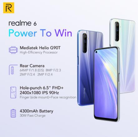 купить на алике дешево смартфон Realme 6 глобальная Версия Мобильный телефон 4 Гб RAM 128 ГБ ROM 30 Вт флэш-зарядка 4300 мАч Helio G90T 64MP камера NFC Play Store EU Plug