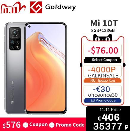 """купить Глобальная версия Xiaomi Mi 10T 8 Гб RAM 128 ГБ ROM 5G мобильный телефон Snapdragon 865 64MP Тройная камера 144 Гц 6,67"""" DotDisplay 5000 мАч на алиэкспресс"""