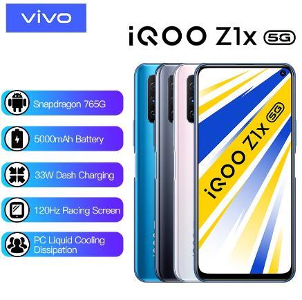 купить на алиэкспресс Оригинальный vivo iQOO Z1x смартфон с двойным режимом 5G Snapdragon 76 5G аккумулятор 5000 мАч 33 Вт зарядка 120 Гц Мобильный телефон