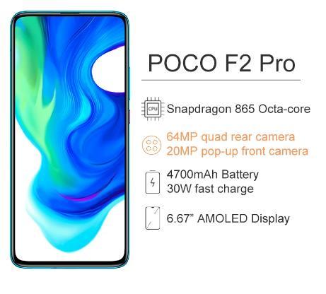 купить на алиэкспресс Глобальная версия Xiaomi POCO F2 Pro 6 ГБ ОЗУ 128 ГБ ROM, Смартфон Snapdragon 865 64MP + 20MP камера 6,67 дюймов сенсорный экран 4700 мАч NFC