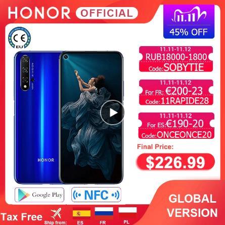 купить на алике смартфон В наличии глобальная версия Honor 20 смартфон 6G128G Kirin 980 Восьмиядерный 6,26 ''48MP четыре камеры мобильный телефон Google Play SuperCharge NFC