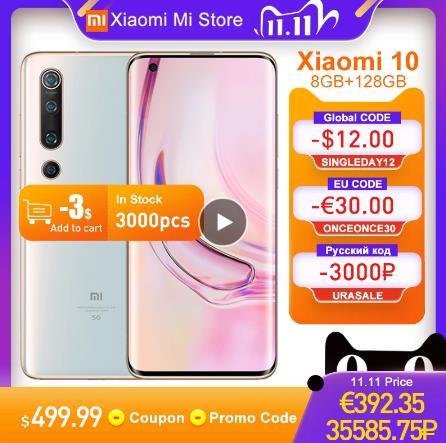 Глобальная версия смартфона Xiaomi Mi 10, 8 ГБ, 128 ГБ, 5G, LPDDR5 USF 3,0, Snapdragon 865, Восьмиядерный, 6,67 дюйма, AMOLED, 90 Гц купить на aliexpress 11/11