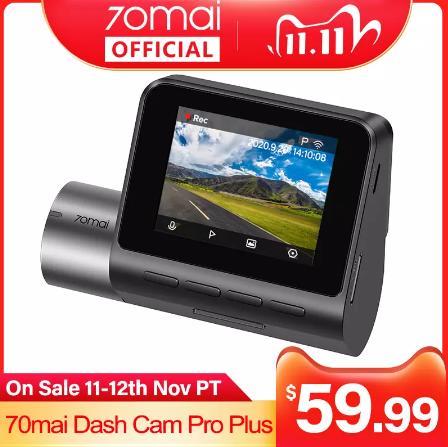 купить на алиэкспресс Обновление 70mai Smart Dash Cam Pro Plus A500 Встроенный GPS 70mai PLUS Автомобильный видеорегистратор 1944P с координатами скорости ADAS 24H монитор парковки