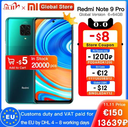 купить на алиэкспресс Смартфон Xiaomi Redmi Note 9 Pro, 6 + 64 ГБ, Snapdragon 720G, 8 ядер, 6,67 дюйма, 5020 мАч
