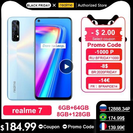 Realme 7 RMX2155 NFC 6,5 ''FHD + 6/8GB/64 Гб 128 ГБ 48MP Quad камеры смартфон Helio G95 Octa Core 30 Вт DartCharge 5000 мА/ч, мобильный телефон