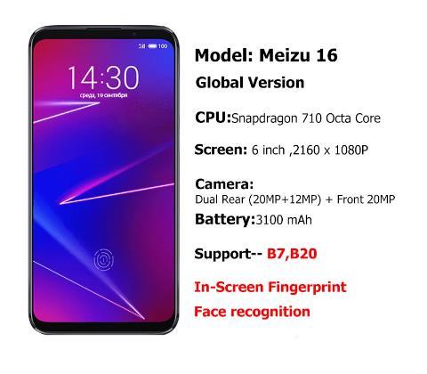 Смартфон Meizu 16, глобальная версия, 6+64/128 Гб, процессор Snapdragon 710, экран 6.0'', фронтальная камера 20 мп, двойная задняя камера, аккумулятор 3100 мАч