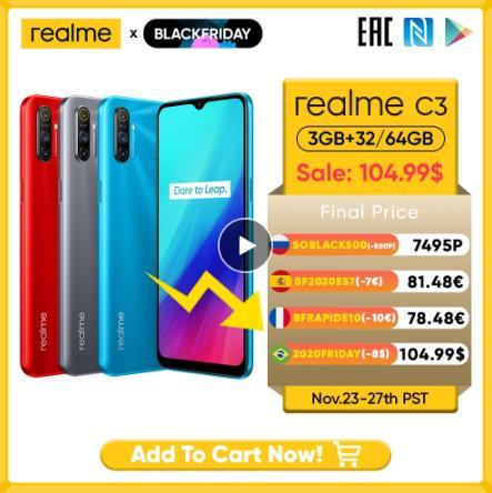 """купить черная пятница Realme C3 Unlockphone, 3 Гб оперативной памяти, Оперативная память 64 Гб Встроенная память Мобильный телефон MTK Helio G70 12MP Камера 6,5 """"полноэкранный 5000 мАч NFC Redmi смартфонов"""