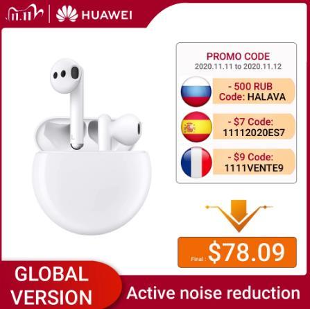купить на aliexpress Глобальная версия Huawei Freebuds 3 в наличии, беспроводные гарнитуры Huawei, TWS Bluetooth наушники, активное шумоподавление дешево со скидкой