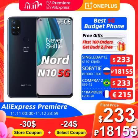 купить Мировая премьера глобальная версия OnePlus Nord N10 5G Snapdragon 690 смартфон 6 ГБ 128 90 Гц Дисплей 64MP Quad NFC -1800P Code:SOBYTIE+2442P Купон магазина+1952P Выбрать купон on 11.11 10:00 на ALiExpress