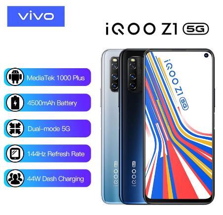 купить на алиэкспресс Оригинальный vivo iQOO Z1 5G 6 ГБ 128 ГБ MediaTek 1000 Plus мобильный телефон Celular 4500 мАч 44 Вт зарядка 144 Гц Частота обновления сотовый телефон