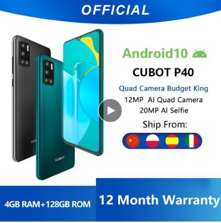 купить Cubot P40 задний Quad Camera смартфон Четыре камера NFC телефон 4 Гб + 128 ГБ 6,2 дюйма 4200 мАч Большая Батарея новая Google Android 10 система две sim-карты мобильные телефоны 4G LTE celular OTG глобальная версия GPS
