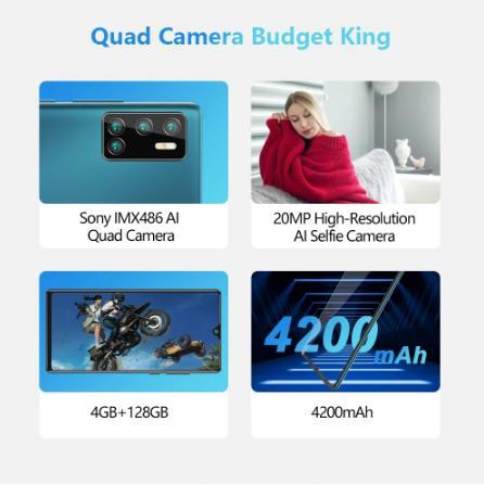 купить на алиэкспрессе Cubot P40 задний Quad Camera смартфон Четыре камера NFC телефон 4 Гб + 128 ГБ 6,2 дюйма 4200 мАч Большая Батарея новая Google Android 10 система две sim-карты мобильные телефоны 4G LTE celular OTG глобальная версия GPS