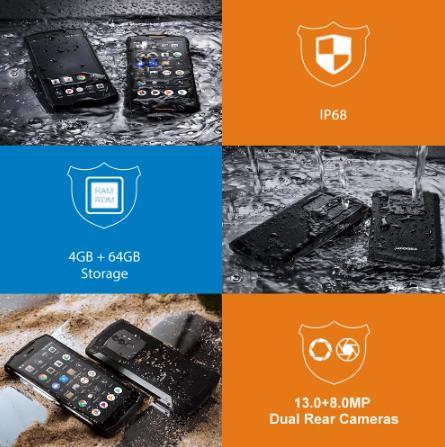 купить Смартфон IP68 DOOGEE S55, ОЗУ 4 Гб, ПЗУ 64 Гб, водонепроницаемый двухсимочный телефон, 5500 мАч, MTK6750T, 4G LTE, восьмиядерный, экран 5,5 дюймов, Android 8.0, камера 13.0Мп