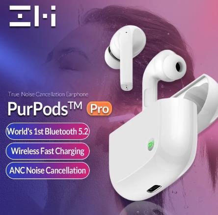 Новинка 2021, оригинальные беспроводные наушники ZMI PurPods Pro, первая в мире, Bluetooth 5,2, водонепроницаемые наушники-вкладыши ANC 3Mic с защитой от шума