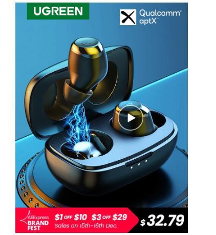 UGREEN HiTune TWS наушники беспроводные Bluetooth наушники aptX с чип Qualcomm True беспроводные стерео наушники гарнитура наушники