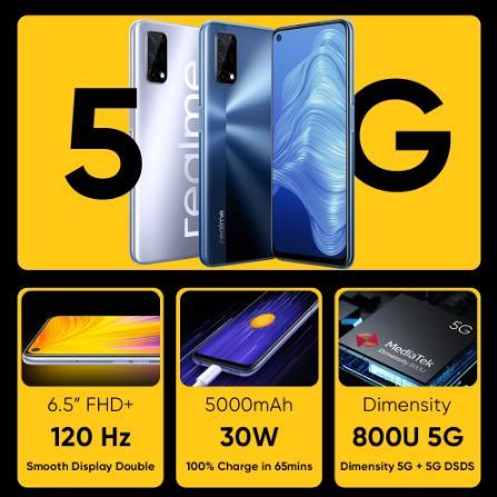 купить Мировая премьера realme 7 5G Dimensity 800U смартфон 6 ГБ 128 120 Гц Дисплей 48MP Камера 5000 мА/ч, глобальная Версия 30 Вт Дротика заряда