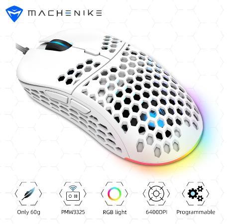 Игровая мышь Machenike PMW3325, оптический датчик, 60 г светильник Кая проводная мышь 6400DPI, регулируемая программируемая RGB для ПК, ноутбука, USB-кабель