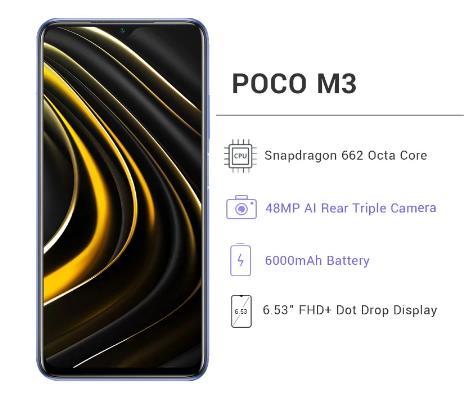 "купить Глобальная версия POCO M3 4 ГБ 64 Гб / 128 Гб Смартфон Snapdragon 662 8-ядерный 48MP Тройная камера 6,53"" FHD+ DotDisplay 6000 мАч батарея"