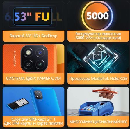 Смартфон Xiaomi Redmi 9C NFC 2 + 32ГБ RU,[Ростест, Доставка от 2 дня, Официальная гарантия