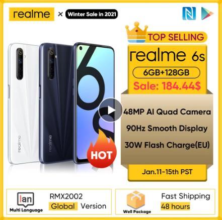 купить Realme 6s NFC в мире смартфон 90 Гц 6,5 ''Дисплей 6 ГБ 128 ГБ мобильный телефон 48MP 4300 мА/ч, 30W смены телефон Android телефонов