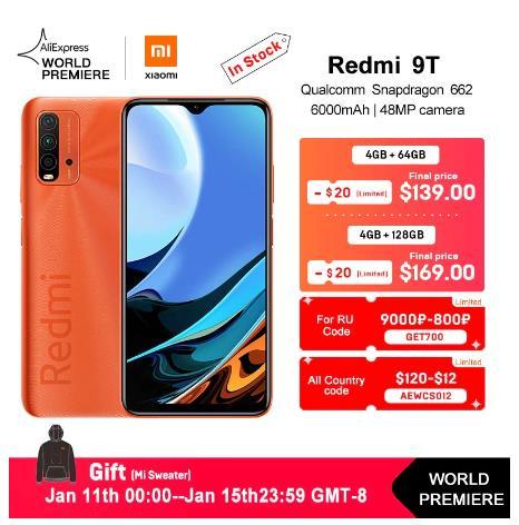 купить Мировая премьера глобальная версия смартфона Xiaomi Redmi 9T 4 Гб 64 ГБ/4 ГБ 128 ГБ Snapdragon 662 48MP камера заднего вида 6000 мАч без NFC