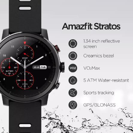 купить Оригинальный Amazfit Stratos Смарт-часы Bluetooth GPS подсчет калорий монитор сердца 50 м Водонепроницаемый для iOS и Android телефон