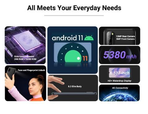 Blackview A70 Android 11 смартфон 6,517 дюймов Дисплей Octa Core, 3 Гб оперативной памяти, Оперативная память + 32 ГБ Встроенная память 5380mAh13MP сзади Камера 4G мобильный телефон