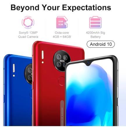 купить Blackview A80s 4 Гб + 64 Гб Смартфон 13MP Quad Камера 4200 мАч Android 10 Восьмиядерный Face ID 4G мобильный телефон отпечатков пальцев телефон
