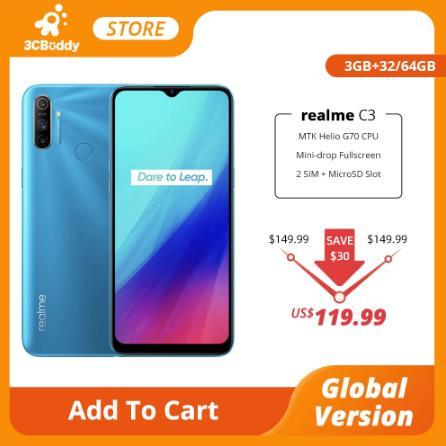 купить Смартфон realme C3, 3 + 32/64 ГБ, 12 МП, 5000 мАч