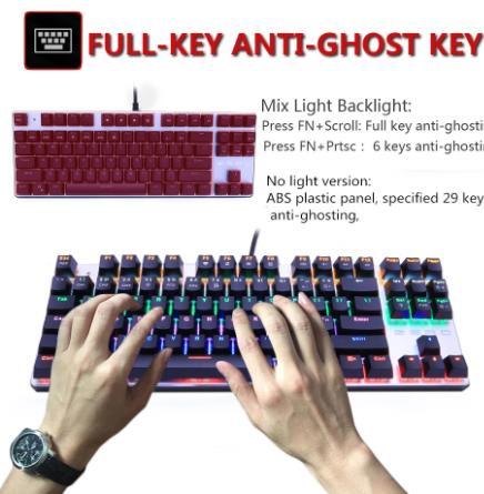 Metoo игровая механическая клавиатура с защитой от привидения русская/Американская синяя черная красная клавиатура с подсветкой USB Проводная клавиатура для pro Gamer