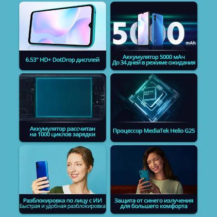 купить Смартфон Xiaomi Redmi 9A 2 + 32ГБ RU,[Ростест, Доставка от 2 дня, Официальная гарантия]