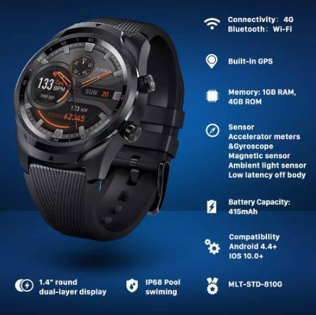 купить Введите TIC800, чтобы сэкономить 800руб TicWatch Pro 4G/LTE Европейская версия 1 ГБ ОЗУ отслеживание сна IP68 Водонепроницаемые часы NFC LTE для Vodaphone в Германии мужские спортивные часы