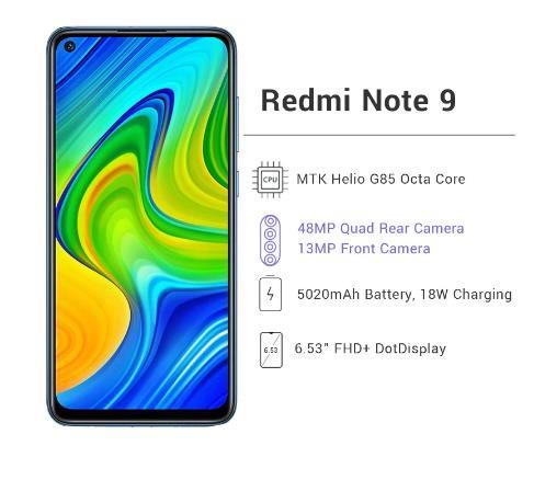 """купить Глобальная версия Xiaomi Redmi Note 9 3 ГБ 64 ГБ / 4 ГБ 128 ГБ Смартфон Helio G85 Восьмиядерный 48Мп Четыре камеры заднего вида 6,53"""" DotDisplay 5020 мАч"""