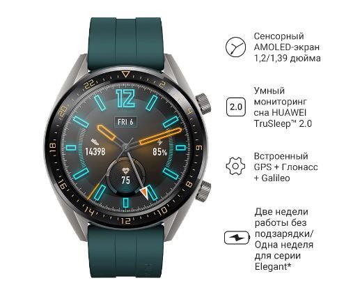 HUAWEI WATCH GT смарт-часы на русском языке   Сенсорный AMOLED-зкран   официальная гарантия, быстрая доставка