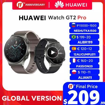 В наличии глобальная версия HUAWEI часы GT 2 pro SmartWatch 14 дней Время работы от аккумулятора GPS беспроводной зарядки Kirin A1 GT2 Pro