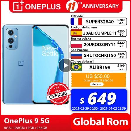Глобальная прошивка OnePlus 9 5G Snapdragon 888 8GB 128GB смартфон 6,5 ''120 Гц жидкости активно-матричные осид, Дисплей Warp 65T OnePlus официального магазина Carter's; code: NESHUTKA1500(1500₽ от 24000₽); SHUTIM1000