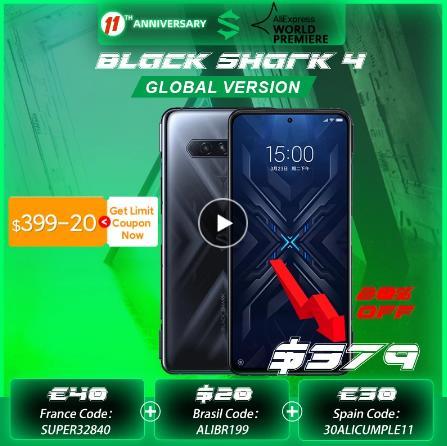 Promo code NESHUTKA1500 Pre-sale Новое поступление 2021, смартфон Black Shark 4, 6 ГБ/8 ГБ, 128 ГБ, Snapdragon 870, 144 Гц, частота обновления E4, AMOLED экран, Диммирование постоянного тока, UFS 3,1