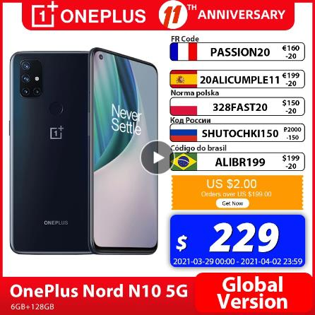 OnePlus Nord N10 5G OnePlus Official Store Мировая премьера глобальная версия 6 ГБ 128 Snapdragon 690 смартфон 90 Гц Дисплей 64MP Quad камеры Warp 30T NFC