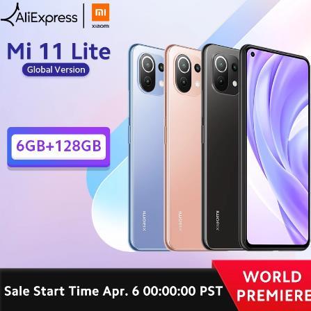 Глобальная версия смартфона Xiaomi Mi 11 Lite, Восьмиядерный процессор Snapdragon 732G, 6 ГБ ОЗУ, 128 Гб ПЗУ, задняя камера 64 мп, NFC