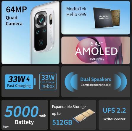 """[Мировая премьера] глобальная версия Xiaomi Redmi Note 10S смартфон 64-мегапиксельная четырехъядерная камера Helio G95 6,43 """"AMOLED DotDisplay 5000 мА/ч, 33 Вт"""