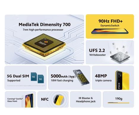 """[Мировая премьера] глобальная версия POCO M3 Pro 5G Dimensity 700 Octa Core 90 Гц 6,5 """"FHD + безрамочный экран с DotDisplay 5000 мА/ч, 48MP тройной Камера NFC"""