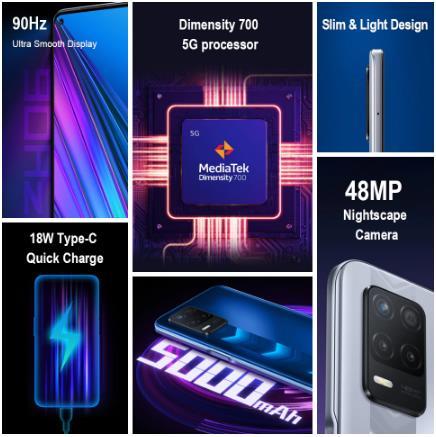 Мировая премьера realme narzo 30 5G глобальная версия 4 Гб 128 Dimensity 700 48MP тройной Камера 5000 мА/ч, Батарея 90 Гц Дисплей NFC