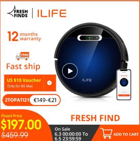 Робот-пылесос ILIFE B5 Max, сотовые телефоны, управление через приложение, Wi-Fi, Расписание, большой контейнер для пыли 600 мл и мешок для пыли 1 л