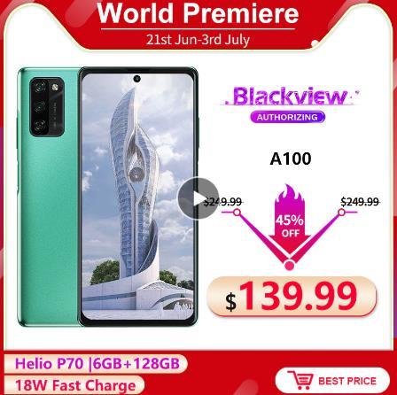 Blackview A100 6 ГБ + 128 Гб 6,67 ''helio P70 Octa Core Android 11 смартфон FHD + безрамочный экран с 12MP Камера 4680 мА/ч, 18 Вт, быстрая зарядка, мобильный телефон