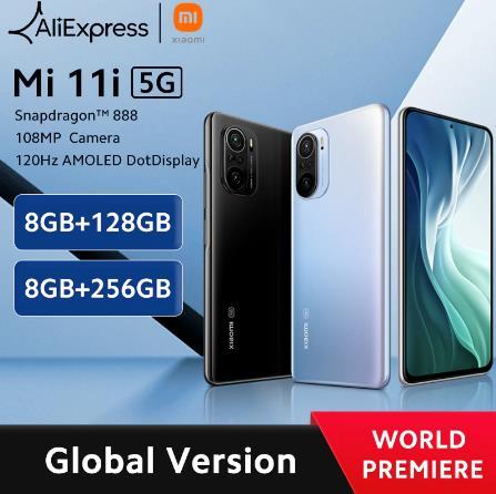 Глобальная версия смартфона Xiaomi Mi 11i, 8 Гб ОЗУ 128/256 Гб ПЗУ, Восьмиядерный процессор Snapdragon 888, экран 120 Гц, камера МП